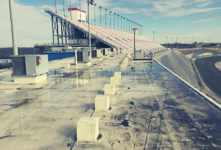 Kentucky Speedway - Sparta Ky - Spray-Tec Gaco & Firestone Roof Coatings Silicone Coating Over Saturated EPDM Roof