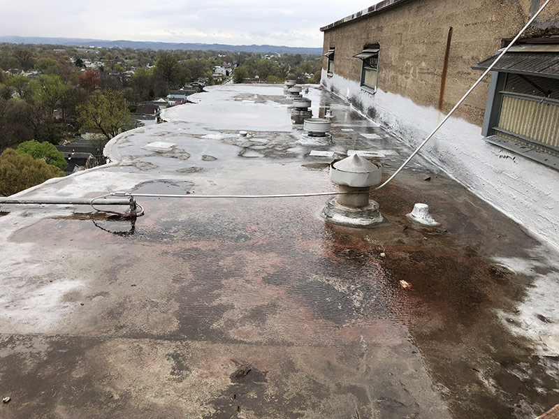 ponding water on concrete roof